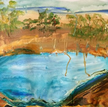 Under The Same Moon, Waterhole, Oil on canvas